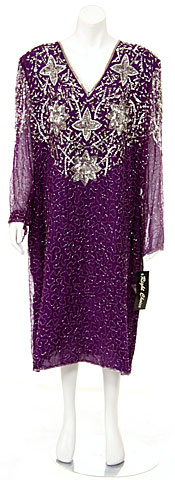 Sequined Tea Length Long Sleeve Gown. 2941.
