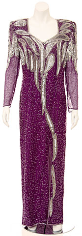 Full Length Sequined Dress with Sleeves. 2962.