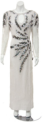 Round neck Full length Sequined Formal Gown . 2964w.