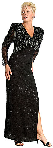 Silver Bead Accent Full Length Gown. 2976.