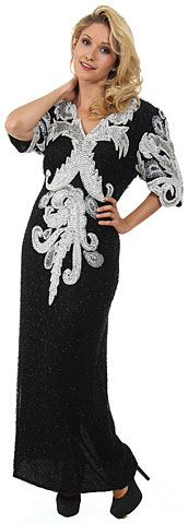 Half Sleeves v-Neck Long Beaded Sequin Gown with Keyhole. 2977.