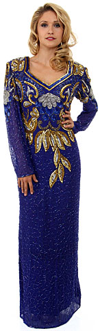 V-Neck Full Sleeves Sequined Formal Evening Gown. 2979.