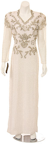 V-Neck Long Sleeves Long Formal Beaded Gown. 2984.
