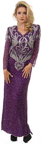 Full Sleeves Long Beaded Sequin Evening Gown with Elegant Bodice. 2985.