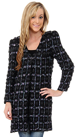 V-neck Checkered Sequin Beaded Jacket