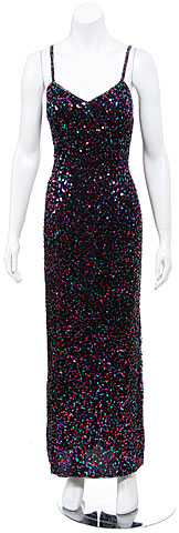 Spaghetti Straps Sequined Long Cocktail Dress . 3224.