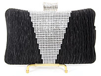 Crocheted Satin Metal Frame Evening Bag in Black. 3372-bk.