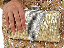 Crocheted Satin Metal Frame Evening Bag in Gold. 3372-gd.