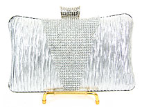 Crocheted Satin Metal Frame Evening Bag in Silver. 3372-sv.