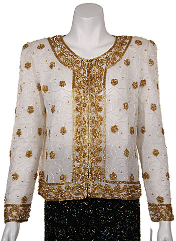 Handbeaded Floral Short Jacket