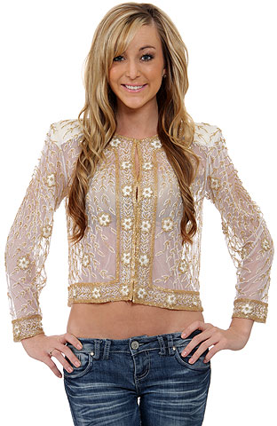 See Thru Sequin Beaded Jacket