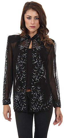 V-Neck Full Sleeves Tea Length Sheer Beaded Jacket