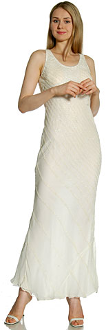 Broad Strapped Cascading Beads Formal Evening Dress. 4094.