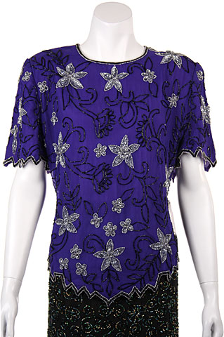 Short Sleeved Floral Beaded Blouse