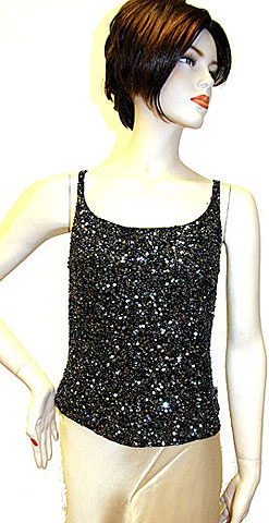 Black/Silver Sequin Beaded Blouse