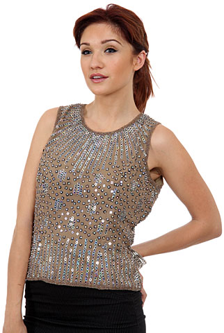 Sequined Blouse with Detailed Beading