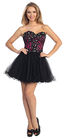 Strapless Floral Lace Bust Tulle Short Prom Dress. 45398.