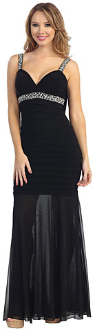 Pleated Bodice Sheer Skirt Long Formal Evening Formal Dress. 45443.