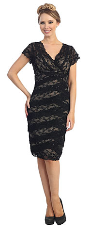 V-Neck Short Sleeves Short Formal Party Dress in Lace. 45444.