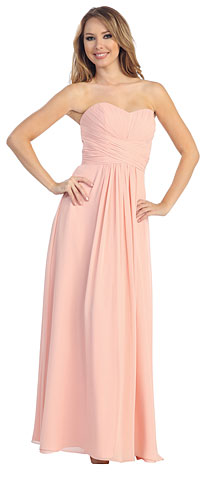 Strapless Ruched Bodice Long Formal Bridesmaid Dress. 45460.