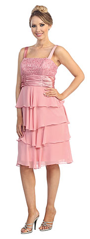 Tiered Skirt Short Formal Formal Dress with Lace Jacket. 45463.