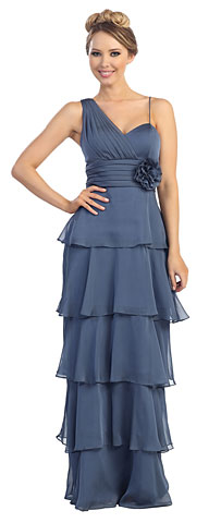 One Shoulder Tiers & Ruffles Long Formal Evening Formal Dress. 45480.