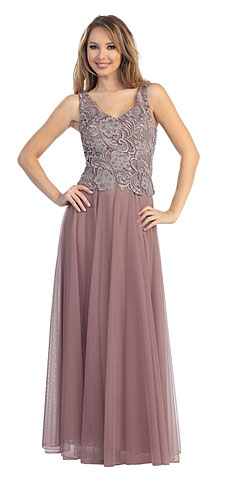 Sleeveless V-Neck Lace Top Long Formal Evening Prom Dress. 45484.