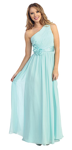 One Shoulder Floral Accent Formal Bridesmaid Dress. 45485.