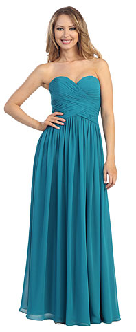Strapless Ruched Bodice Long Bridesmaid Dress. 45486.