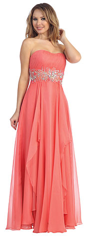 Strapless Floral Beaded Waist Long Pageant Dress. 45500.