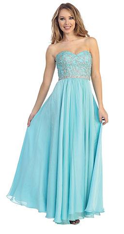 Strapless Floral Sequins Bust Long Formal Dress. 45513.