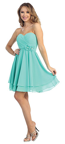 Strapless Overlap Bust Floral Accent Short Bridesmaid Dress. 45542.