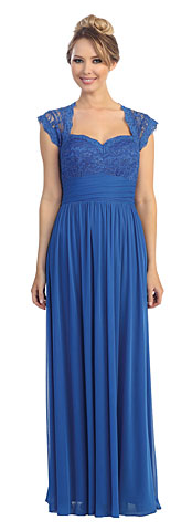 Cap Sleeves Lacey Bust Long Bridesmaid Dress. 45605.