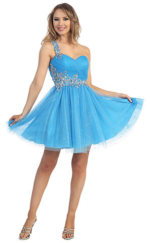 One Shoulder Glittery Mesh Beaded Short Party Party Dress. 45607.