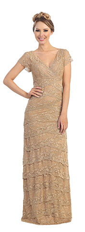 V-Neck Short Sleeves Tiered Lace Long Formal Evening Dress. 45612.