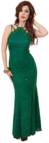 Multi Strapped Beaded Sequin Evening Gown with Flared Skirt. 46644.