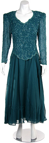 Full Sleeves Formal Evening Gown with Chiffon Skirt. 6117.