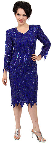 Full Sleeves Knee Length Sequined Formal Dress. 7000.
