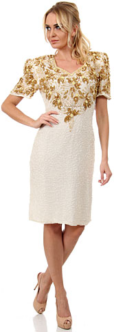 Floral Beaded Bodice Short Sleeves Formal Party Dress. 7003.