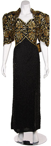Full Length High Waistline Beaded Dress. 7016.