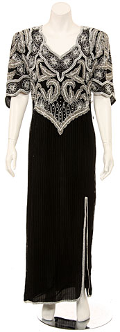 Short Sleeved Elegantly Sequined Evening Gown. 7092l.