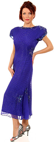 Tea Length Boat Neck Beaded Sequin Formal Dress with Keyhole. 7184.