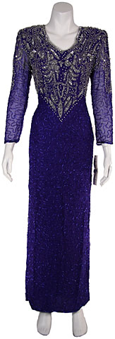 Full Length Formal Beaded Gown. 7192.