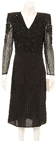 Fully Sequined Long Sleeve Cocktail Dress. 7278.