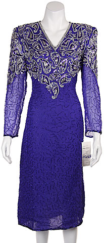 V-neck Paisley Beaded Tea Length Dress