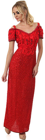 Off shoulder V-Neck Sequins & Ribbons Long Formal Dress. 7382.