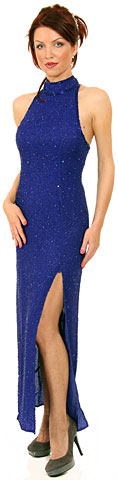 Full Beaded Halter Neck Pageant Dress. 7444.