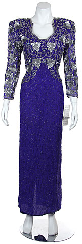 Floral Beaded Full Length Sequin Formal Evening Gown . 7451.