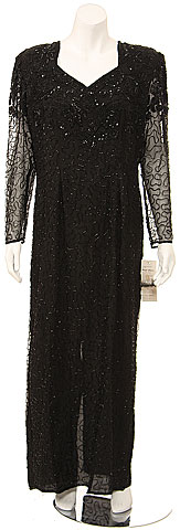 Full Length V-neck Sheer Sleeve Formal Gown. 7462.