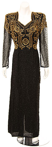 Full Length Long Sleeved Sequined Formal Dress. 7464l.